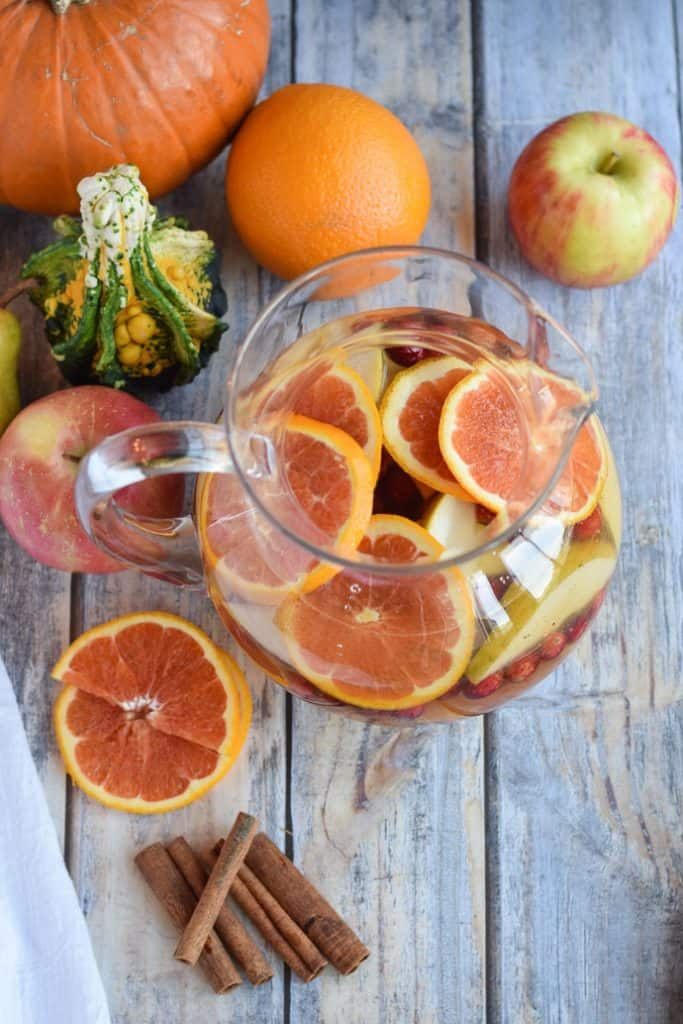 Pumpkin Apple Sangria with lots of fruit