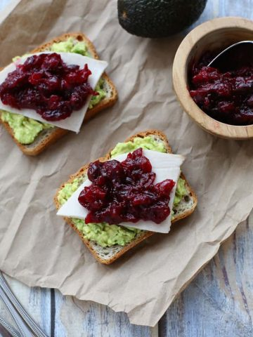 Avocado Toast with Turkey and Cranberry Sauce