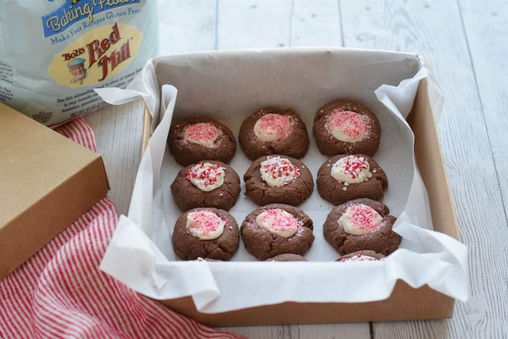 Gluten Free Chocolate Thumbprint Cookies in a box