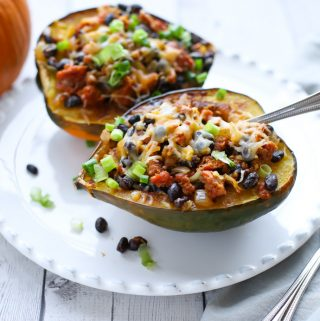 Sausage Stuffed Acorn Squash with melted cheese