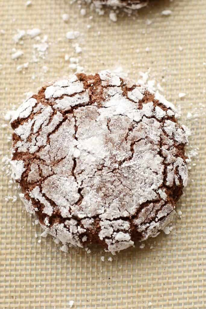 Chocolate Crinkle Cookies (Gluten Free) close up