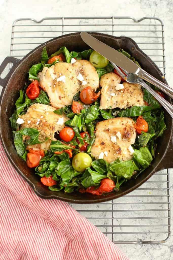 Mediterranean Skillet Chicken with Greens