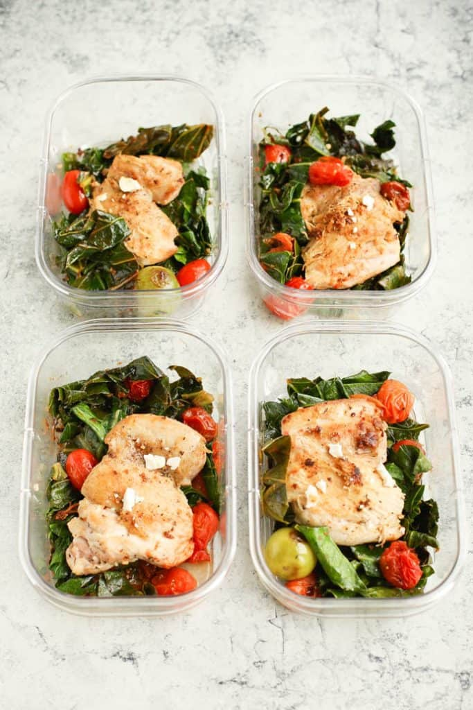 Mediterranean Skillet Chicken with Greens in four meal prep containers