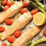 Sheet Pan Lemon Garlic Salmon with Broccolini close up