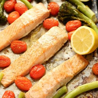 Sheet Pan Lemon Garlic Salmon with Broccolini close up