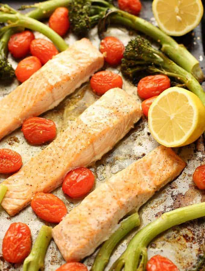 Sheet Pan Lemon Garlic Salmon with Broccolini