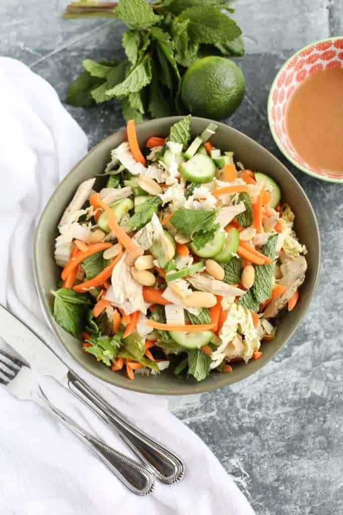Skinny Thai Chicken Salad with no dressing