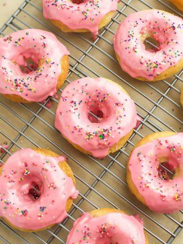 Baked Vanilla Donuts with Raspberry Glaze