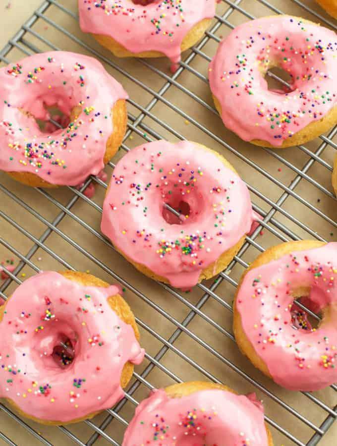 Baked Vanilla Donuts with Raspberry Glaze {Gluten Free}