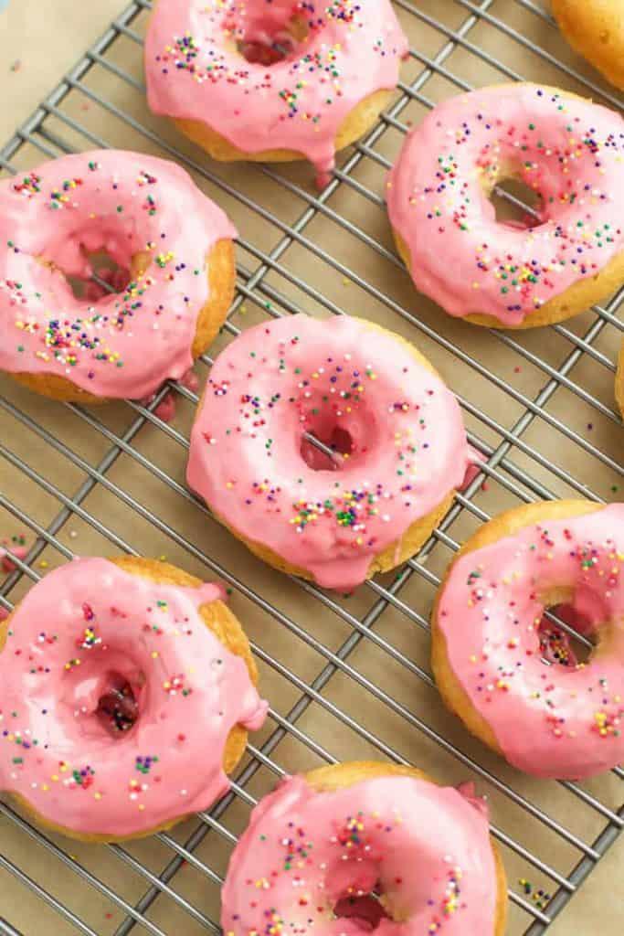 gluten fre vanilla baked donuts on a rack