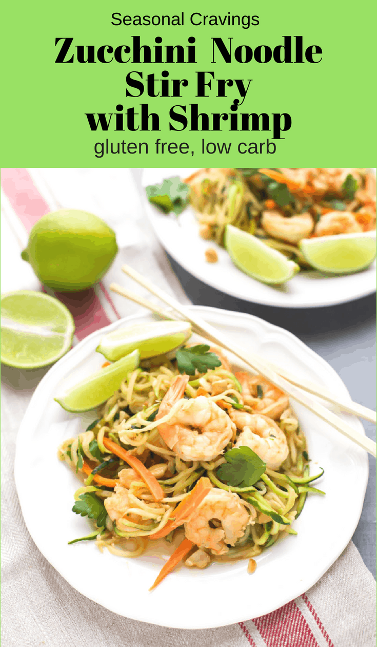 This Zucchini Noodle Stir Fry with Shrimp is a great low carb dinner that is packed with flavor.  I used peanut butter powder in the sauce to lower the fat and zucchini noodles to lower the carbs.  #lowcarb #zoodles #glutenfree