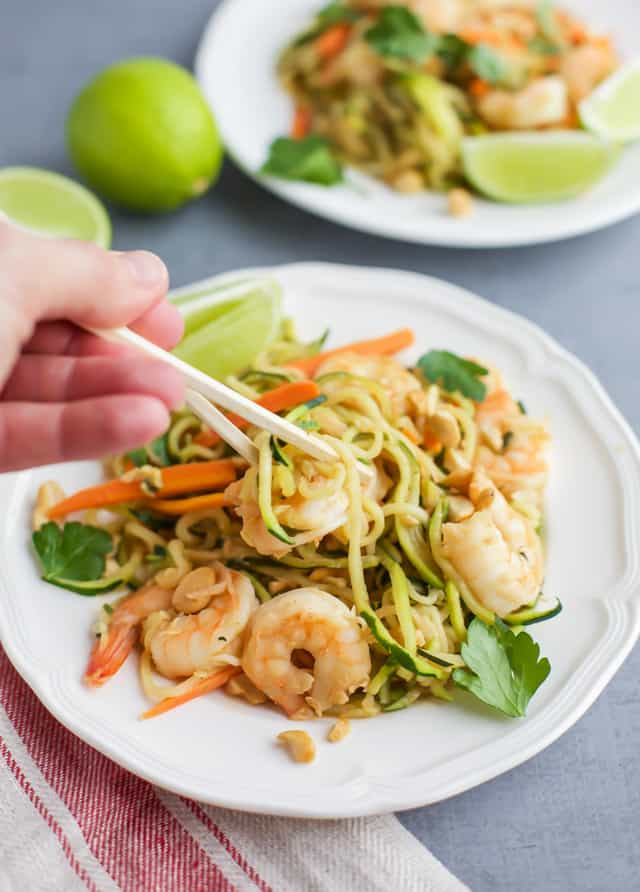 Zucchini Noodle Stir Fry with Shrimp with chopsticks
