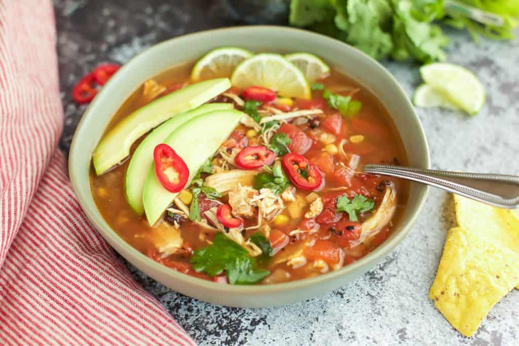 pressure cooker chicken tortilla soup close up