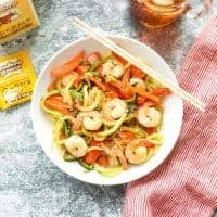 Garlic Shrimp with Zucchini Noodles with red peppers #keto #lowcarb #glutenfree
