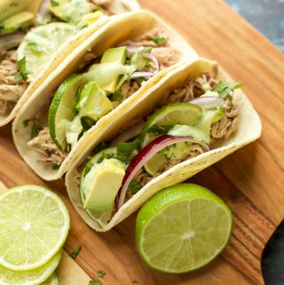 Instant Pot Pork Tacos with avocado crema