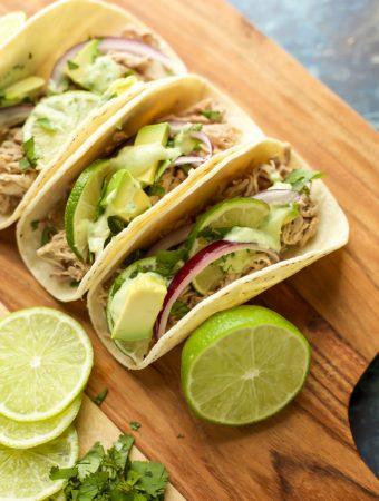 Instant Pot Pork Tacos with avocado crema