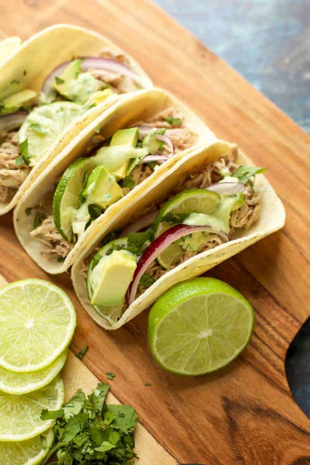 Instant Pot Pulled Pork Tacos with avocado crema