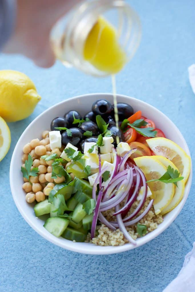 Greek Quinoa Salad with dressing
