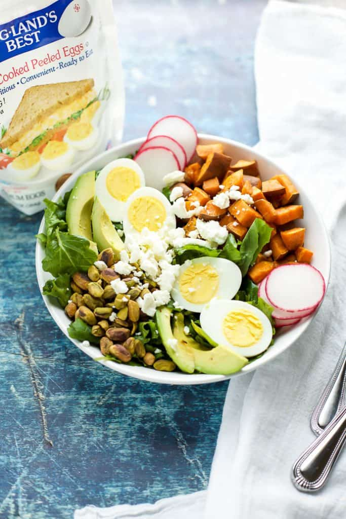 Spiced Sweet Potato and Kale Salad with boiled eggs