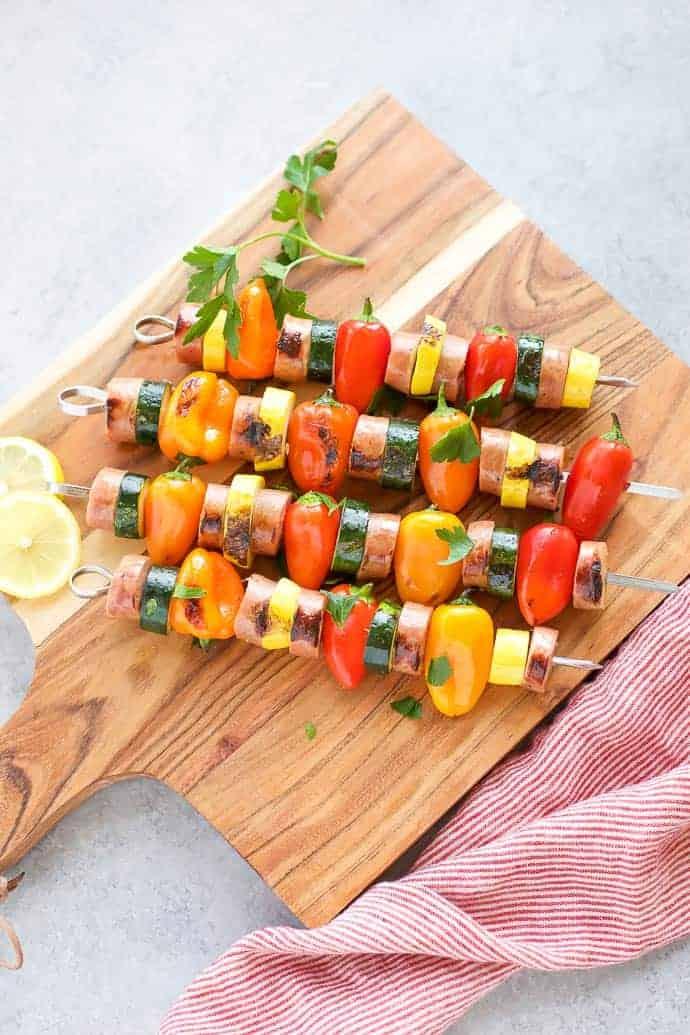 Chicken Sausage Skewers With Vegetables 183 Seasonal Cravings