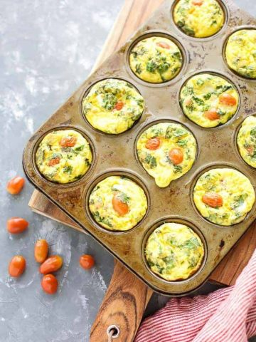 Quiche Cups with Kale and Prosciutto in muffin pan