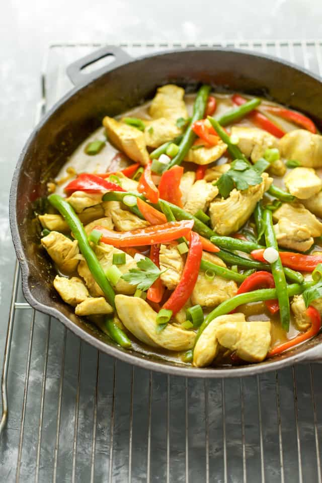 Thai Coconut Chicken Curry in a cast iron pan