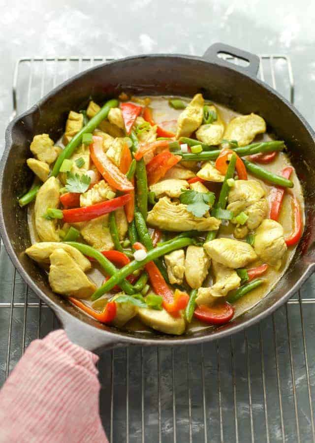 Coconut Curry Chicken in a cast iron pan