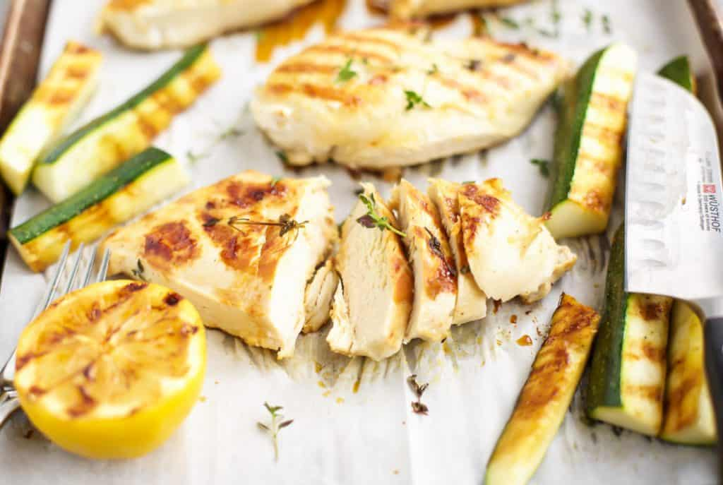 Grilled Lemon Thyme Chicken on a sheet pan