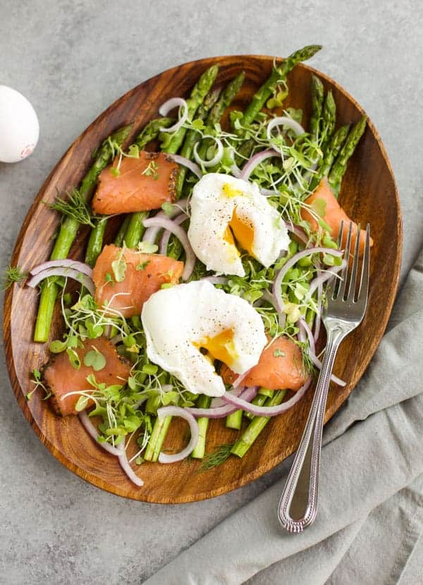 Roasted Asparagus Salad with Poached Eggs