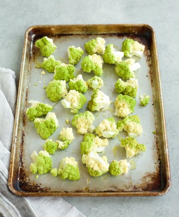 Roasted cauliflower on a sheet pan