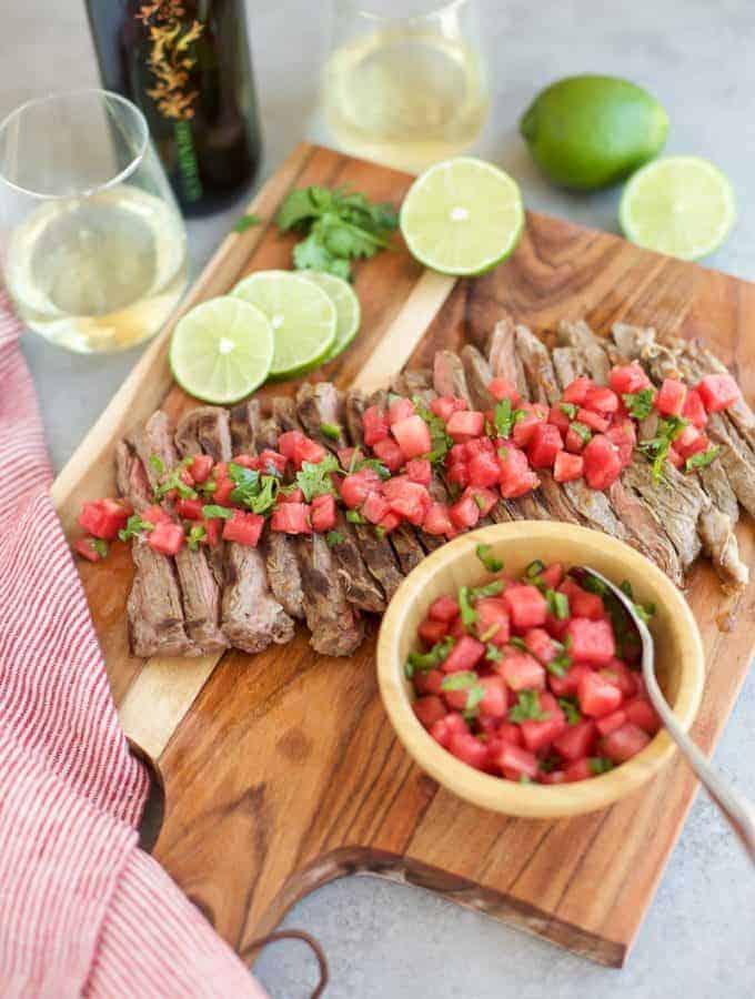 Grilled Skirt Steak with Watermelon Salsa