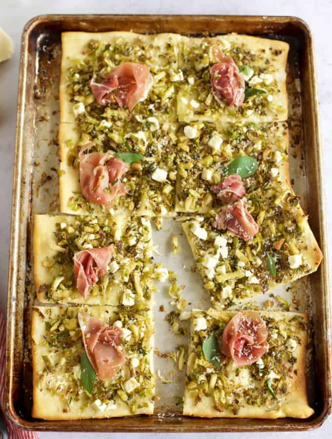 Brussel Sprout and Prosciutto Pizza