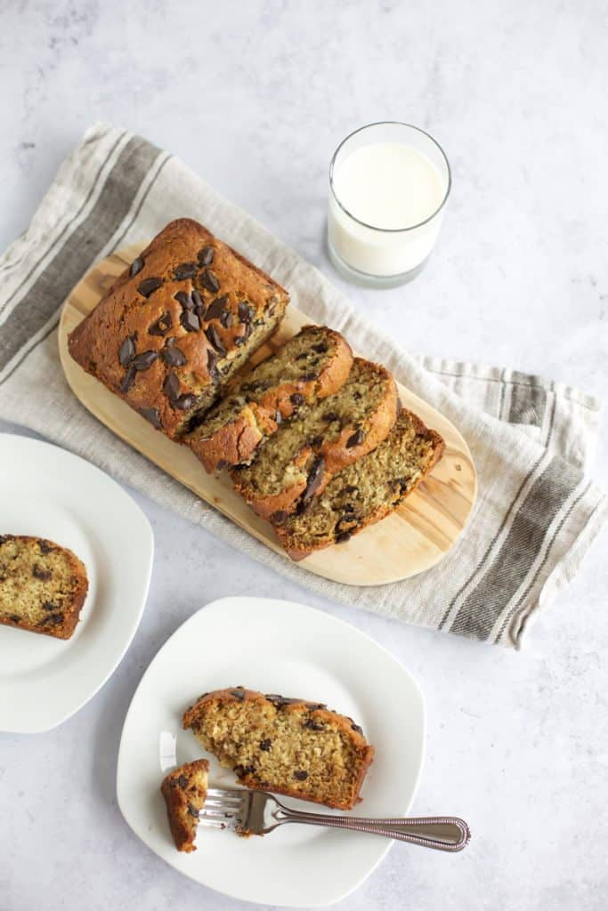 healthy gluten free banana bread with milk