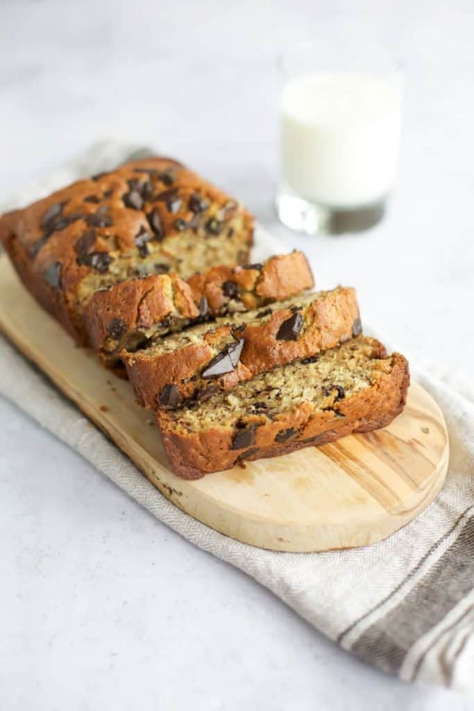 gluten free banana bread recipe on a wooden board