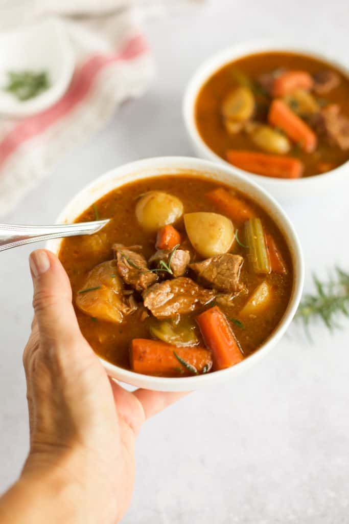 gluten free instant pot beef stew with a spoon