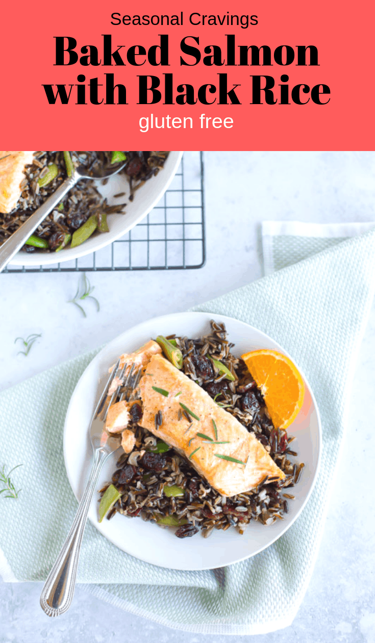 Baked Salmon with Black Rice can be baked in the oven and ready in less than thirty minutes.  It's full of good for you heart healthy omega-3 fatty acids. #glutenfree #salmon #fall #seasonalcravings #blackrice #forbiddenrice