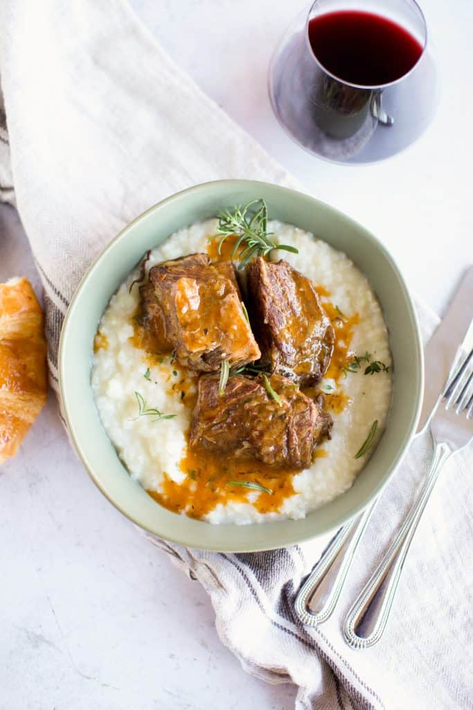 instant pot beef short ribs close up with cauliflower mash