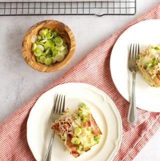 Gluten Free Maple Bacon and Gruyere Breakfast Casserole on two white plates