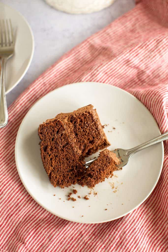 one slice of chocolate cake with a fork
