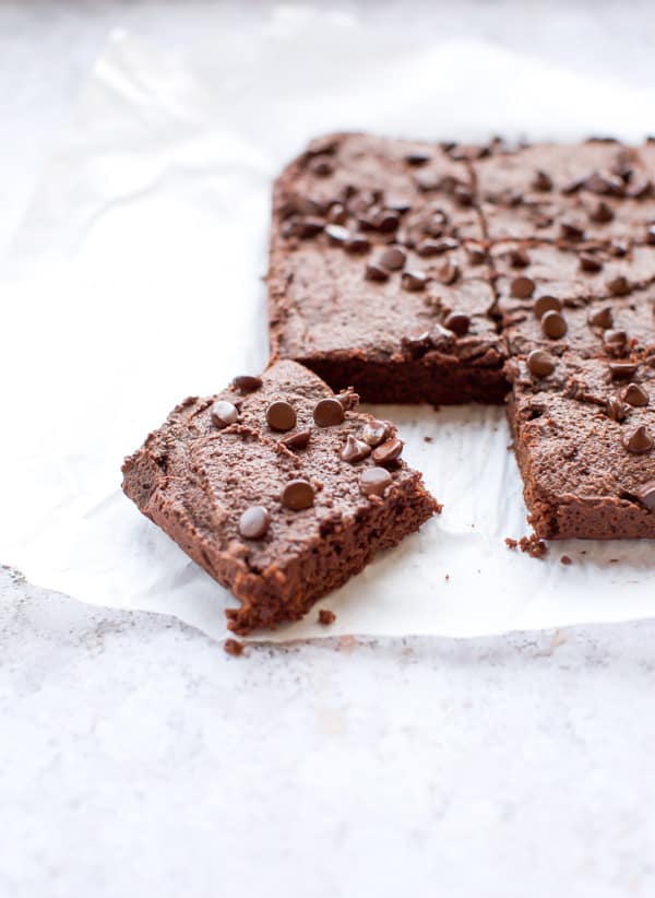easy keto brownies with one piece cut out