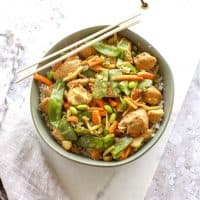overhead view of chicken stir fry in a bowl