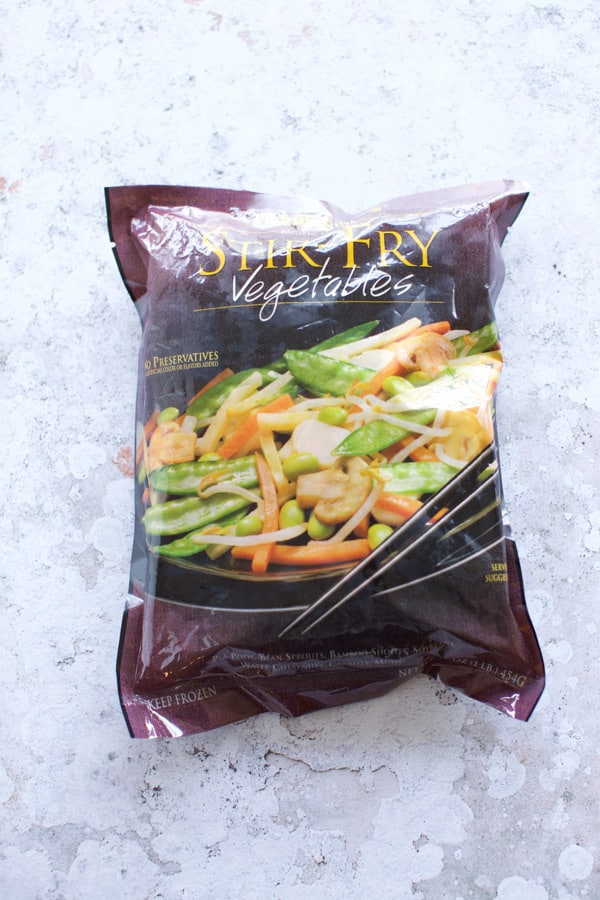 package of frozen vegetables from trader joes