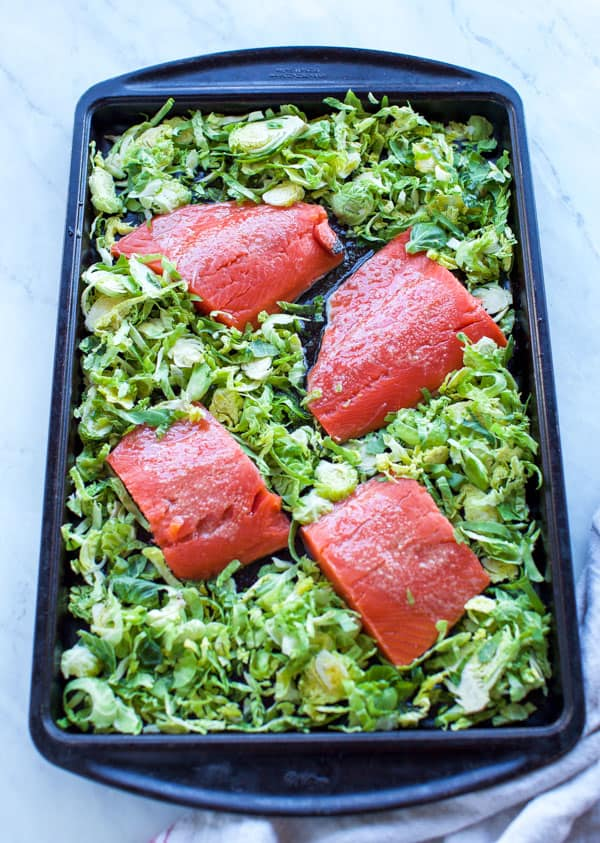 uncooked sheet pan salmon