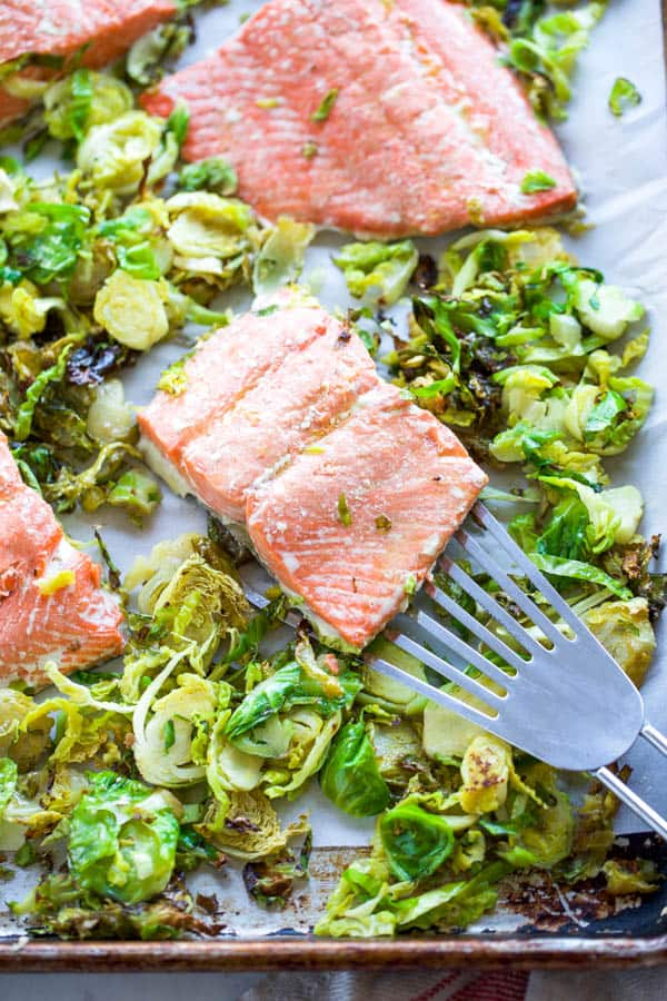 sheet pan salmon with brussels sprouts
