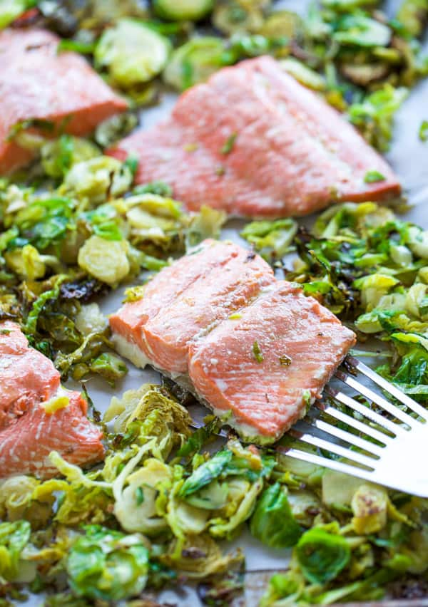 sheet pan salmon with a spatula