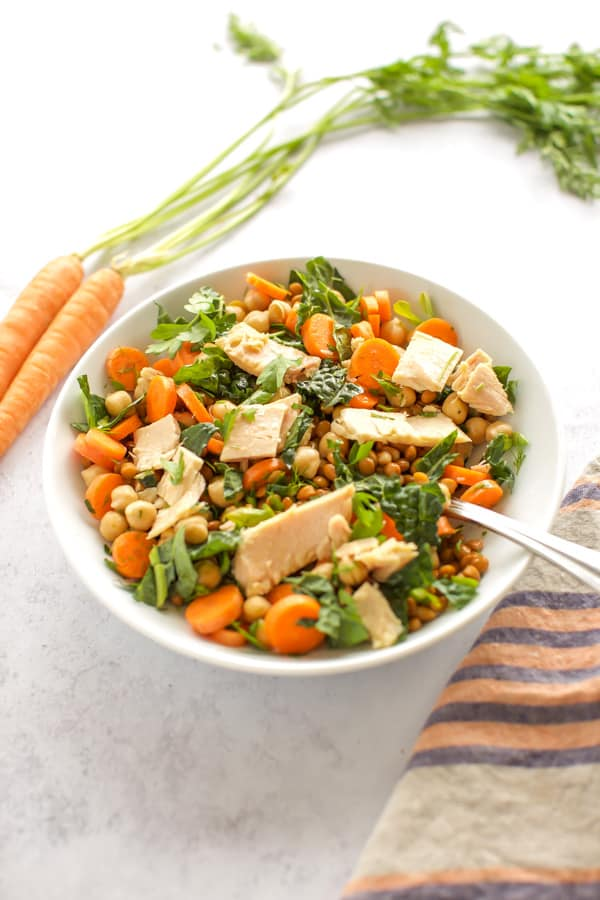 lentil salad with tuna and carrots