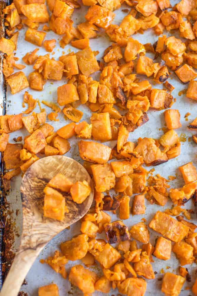 roasted sweet potato recipe with a spoon
