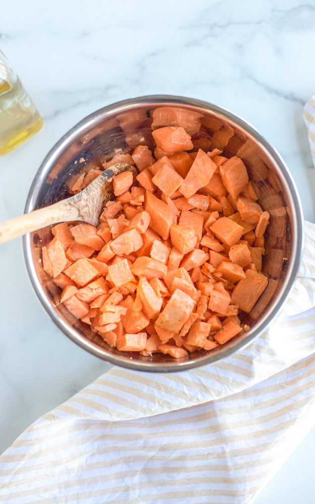 roasted sweet potatoes diced in a bowl