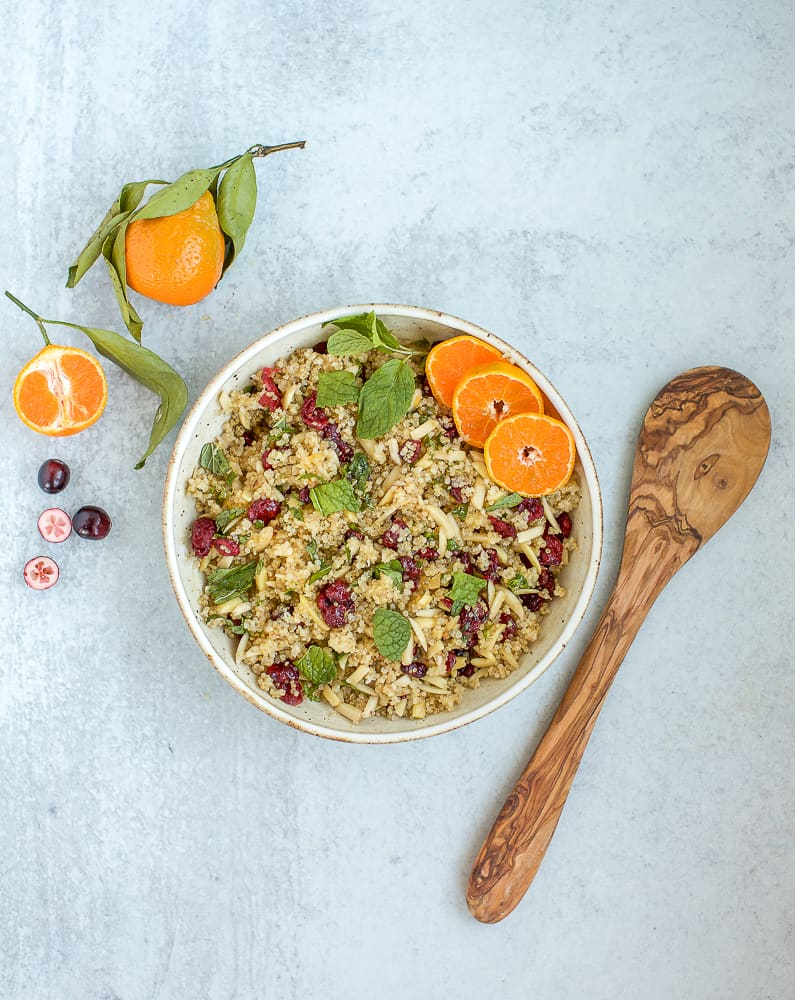 cranberry almond quinoa salad with orange