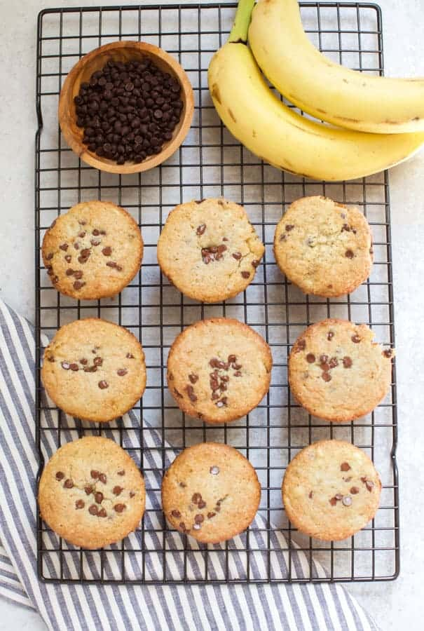gluten free banana chocolate chip muffins on a cooling rack with bananas